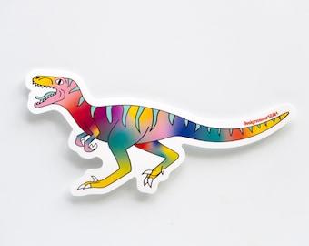Rainbow velociraptor vinyl sticker [pack of 3]