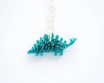 Tiny Glitter Stegosaurus Dinosaur Necklace. Sparkly Dinosaur Necklace. Dinosaur Pendant. Glitter Acrylic Jewellery. Stocking Stuffer