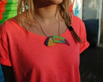 Toucan Necklace. Bird Statement Necklace.Tropical Bird Pendant. Love Bird. Animal Necklace. Bird Necklace. Bird Pendant. Plastic Necklace.