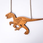 velociraptor dinosaur skeleton statement necklace