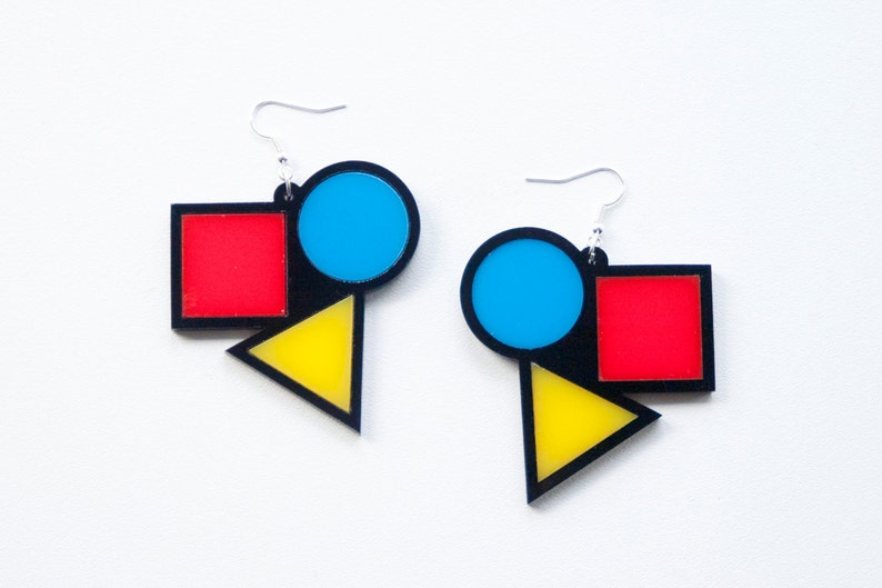 bauhaus contemporary earrings circle triangle square image 0