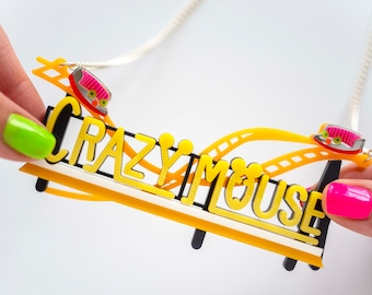Crazy Mouse rollercoaster statement necklace