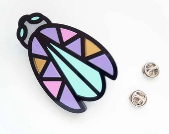 Bug Brooch. Laser Cut Memphis style beetle Brooch. Gift for her. Statement Beatle Brooch. Pastel Insect Pin Badge.
