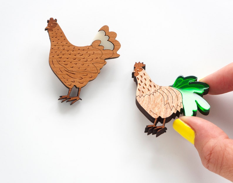 set of chicken hen and cockerel rooster wooden brooches image 0