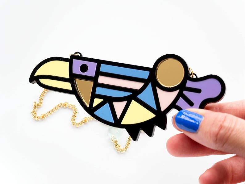 memphis style bird necklace image 0