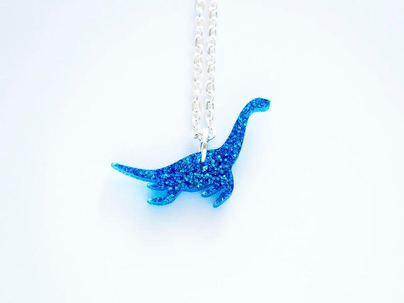 glitter plesiosaur dinosaur tiny charm necklace image 0