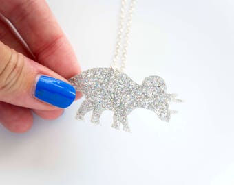 Glitter Triceratops Necklace, Dinosaur Necklace, Sparkly Dinosaur Pendant, Jurassic Park, Gifts for Her, Glitter