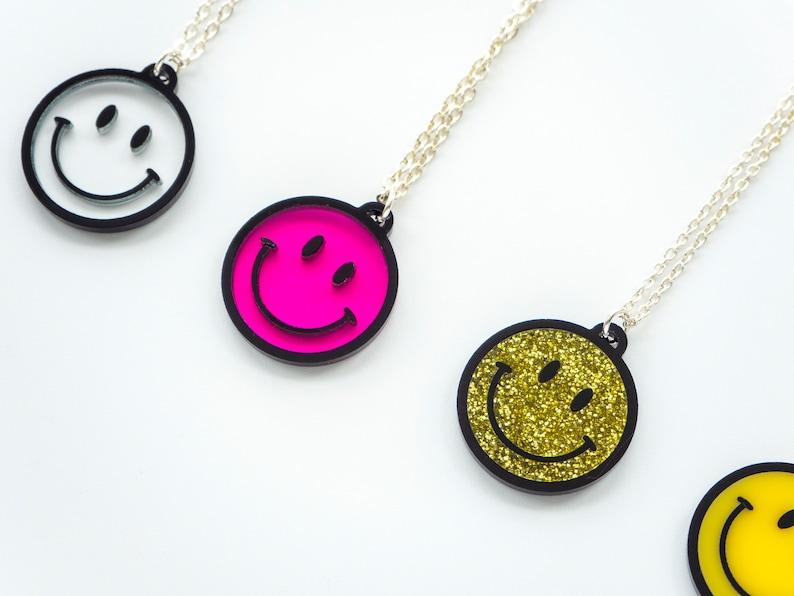 smiley face necklace raver  perfect for festivals on a long image 0