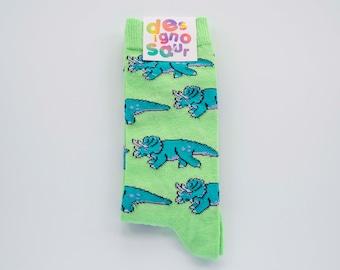 Triceratops dinosaur socks - light green gift socks