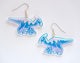 Parasaurolophus dinosaur dangly earrings
