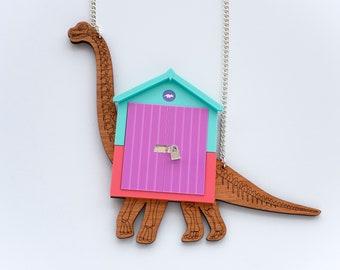 Brachiosaurus beach hut necklace