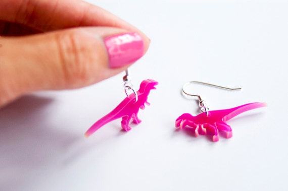 Dangly Dinosaur Earring Pterodactyl in Primary Colours