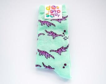 Plesiosaur dinosaur socks - groomsmen socks