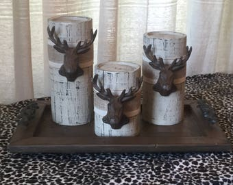 Wooden Candleholders (set of 3)  Khaki with Metal Deer Head