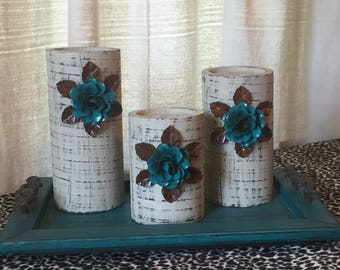 Wooden Candleholders (set of 3)  Khaki with Turquoise Flowers