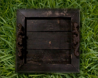 Decorative / Serving Tray - Black Distressed with Black Glaze Topcoat