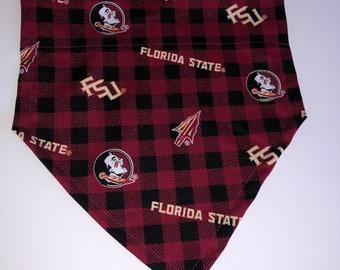 Medium FSU Plaid Print Dog Bandana with Tie Closure-Ready to Ship!