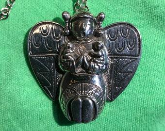 Carol Felley Storyteller Angel in Sterling Silver (Vintage) Pendant or Brooch