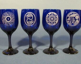 Cobalt Blue Etched Wine Glasses/ Set of 4