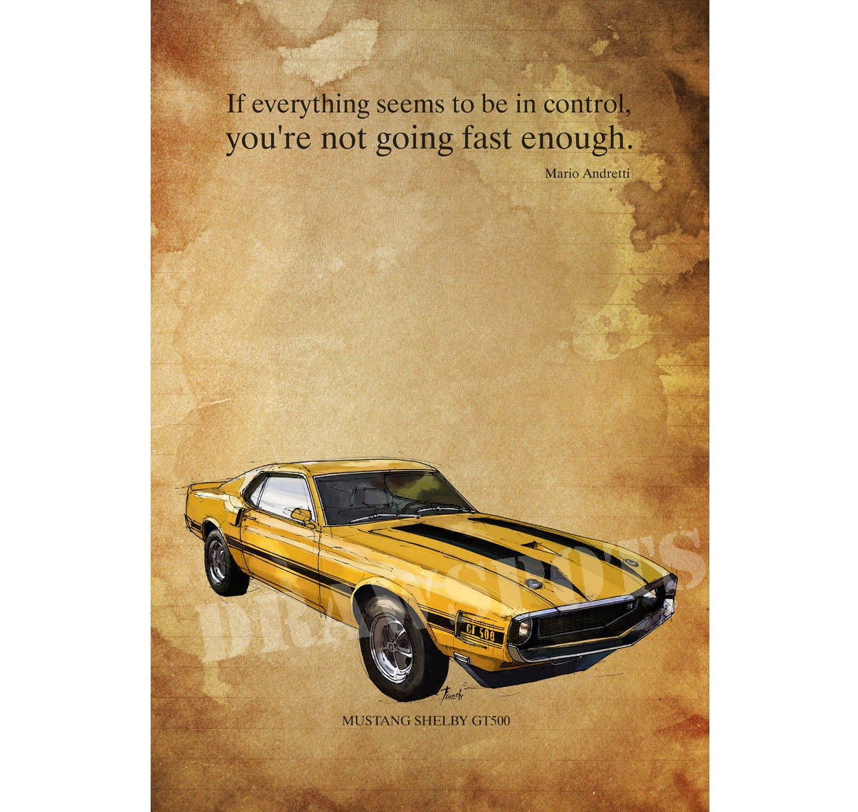 MUSTANG GT500 Yellow and black.Senna quote If everything | Etsy
