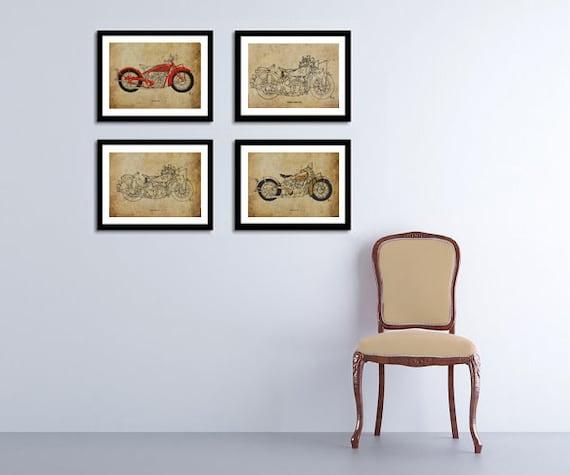 Harley Davidson Black Motorcycle Motorbike Chrome Wall Art Print Poster A3 A4
