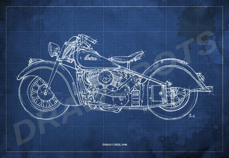 Indian chief 1948 blueprint art print 12x8 in motorcycle art etsy zoom malvernweather Gallery
