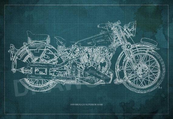 1939 brough superior ss100 motorcycle blueprint art malvernweather Gallery
