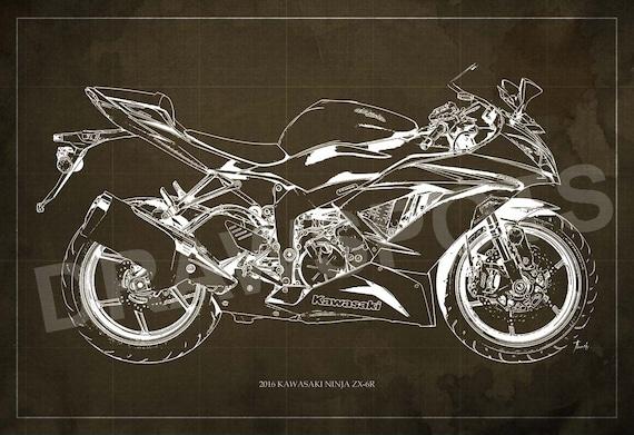 2016 Kawasaki Ninja Zx 6r Blueprint Art Print 8x12in To 60x41in Motorcycle Art Print