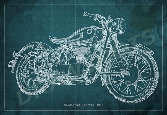 Bmw r602 special 1965 blueprint art print 8x12in to 60x41in etsy image 0 malvernweather Gallery