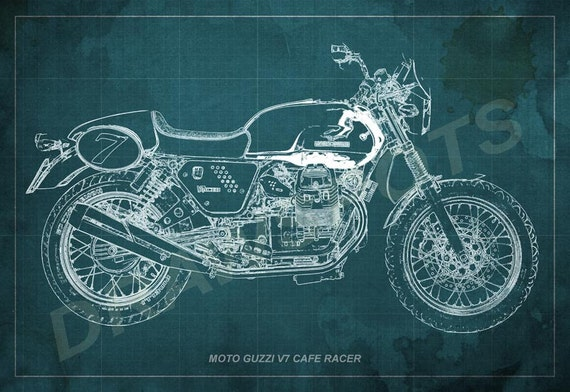 Moto guzzi cafe racer blueprint art print 12x8 to 60x41 in malvernweather Image collections
