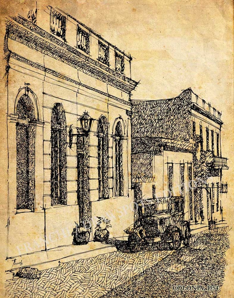 City sketch, 11x14 in, Original drawing print, Colonia,UNESCO World  Heritage Site, for standard frames