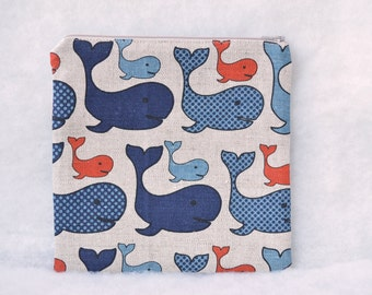 Linen Zipper Pouch with Whales