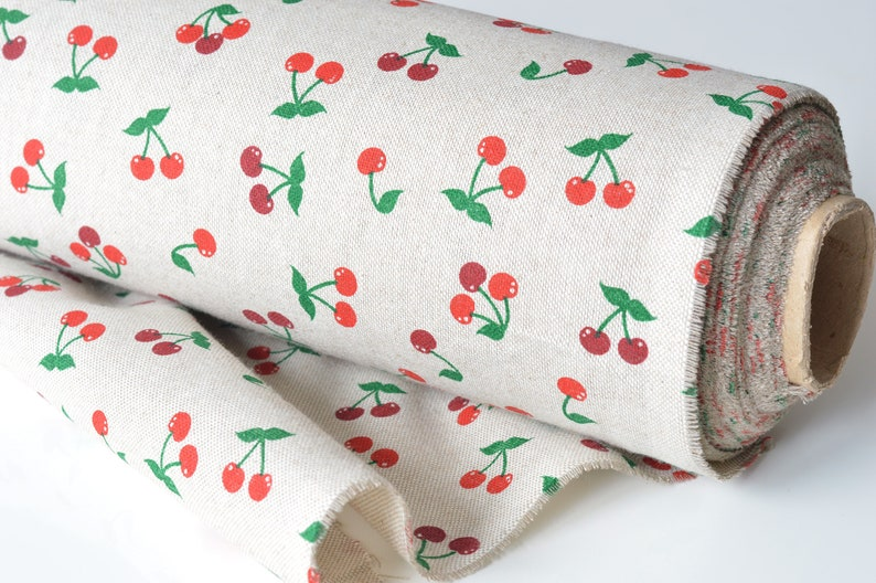 Red cherry cotton fabric / Small cherry fabric / Linen like image 0