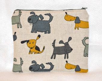 Linen Zipper Pouch with Dogs - Makeup Bag, Medicine or pencil Case