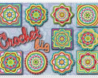 CrochetBig - embroidery file - 10x10 he frame crochet ornament mandala