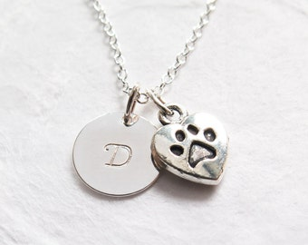 Pet Memorial Necklace, Personalized, Dog Lover Necklace, Dog Lover Gift, Pet Loss, In Memory of Dog, Paw Print, Hand Stamped Initial