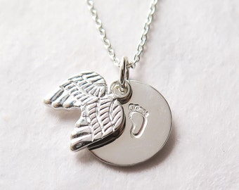 Miscarriage Necklace, Baby Loss, Baby Footprints, Angel Wings, Remembrance Necklace, Pregnancy Loss, Miscarriage Jewelry, Sterling Silver