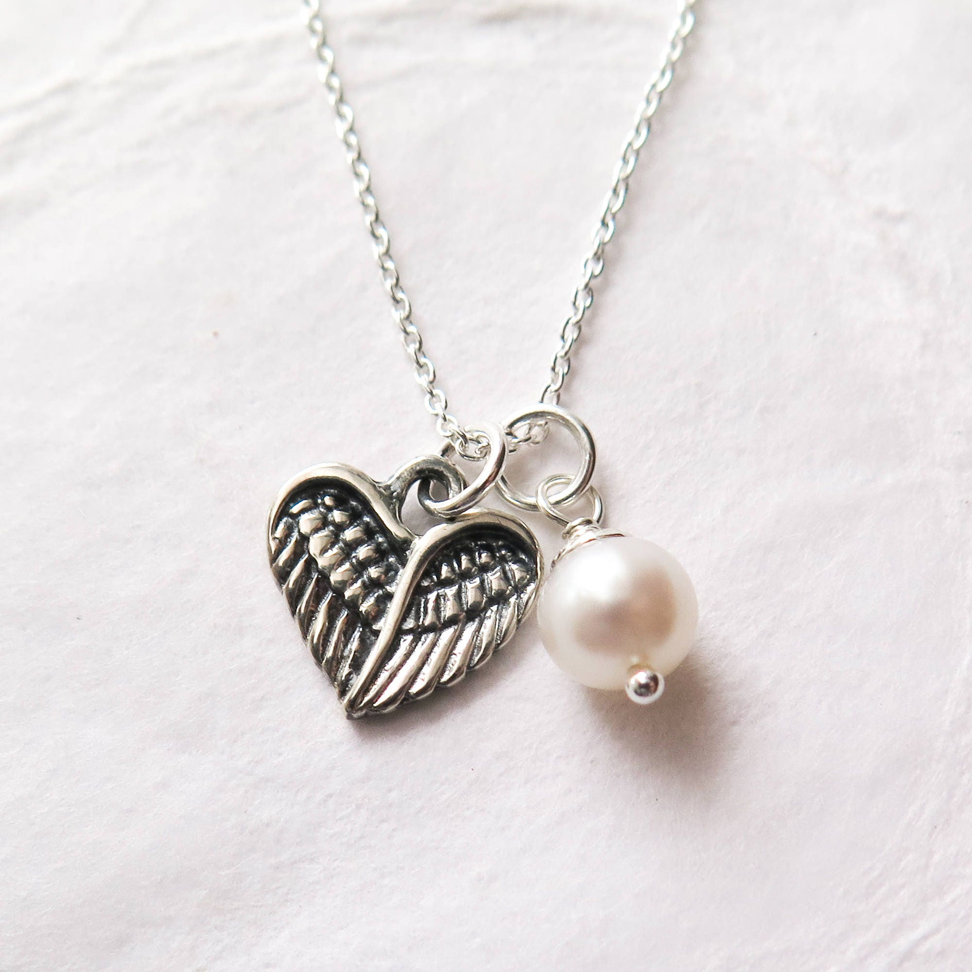 Miscarriage necklace baby loss jewelry angel wing heart with miscarriage necklace baby loss jewelry angel wing heart with freshwater pearl remembrance necklace pregnancy loss miscarriage jewelry aloadofball Images