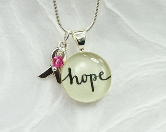Breast Cancer Jewelry - Cancer Awareness Necklace, Hope Necklace & Ribbon Charm, Inspirational Meaningful Gift, Unique Handmade Word Jewelry