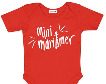 Mini Maritimer Baby Bodysuit - Hand Drawn, Baby Shower Gift, Canadian Baby, Nautical, Maritime, Going Home Outfit, East Coast, Nova Scotia