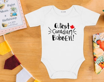 Cutest Canadian Babe Eh! - Baby Bodysuit - Hand Drawn, Baby Shower Gift, Canadian Baby, Nautical, Maritime,Onesie, Canada Day
