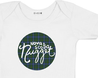 Nova Scotia Nugget Tartan Baby Bodysuit - Hand Drawn, Baby Shower Gift, Baby Boy, Baby Girl, Nautical, Nova Scotia, Going Home Outfit,Tartan