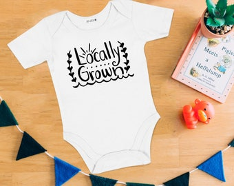 Locally Grown Baby Bodysuit - Hand Drawn, Baby Shower Gift, Canadian Baby, Local, Maritime, Going Home Outfit, East Coast, Home Grown