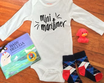 Mini Maritimer Long Sleeve Baby Bodysuit - Hand Drawn, Baby Shower Gift, Canadian Baby, Nautical, Going Home Outfit, East Coast, Nova Scotia
