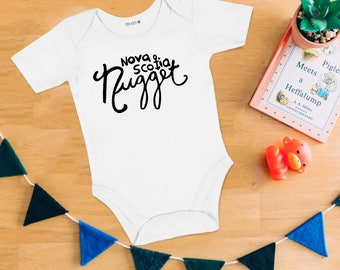 Nova Scotia Nugget Baby Bodysuit - Hand Drawn, Baby Shower Gift, Baby Boy, Baby Girl, Nautical, Nova Scotia, Going Home Outfit, Lobster