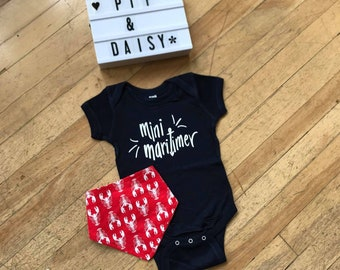 Mini Maritimer NAVY Baby Bodysuit - Hand Drawn, Baby Shower Gift, Canadian Baby, Maritime, Going Home Outfit, East Coast, Nova Scotia