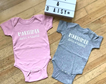 Maritimer Born + Raised  (COLOUR) Baby Bodysuit - Hand Drawn, Baby Shower Gift, Nautical, Maritime, Going Home Outfit, East Coast