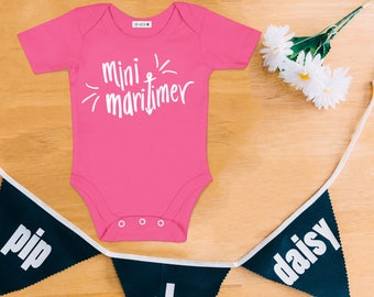 Mini Maritimer PINK Baby Bodysuit - Hand Drawn, Baby Shower Gift, Canadian Baby, Maritime, Going Home Outfit, East Coast, Nova Scotia