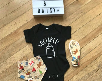 Sociable! Baby Bodysuit (COLOUR) - Hand Drawn, Baby Shower Gift, East Coast, Maritimer, Going Home Outfit, Nova Scotia, Shamrock