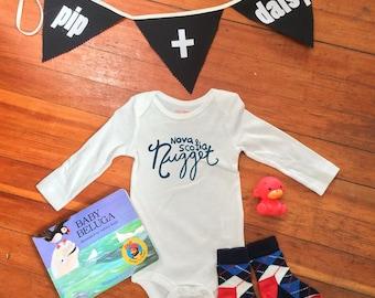 Nova Scotia Nugget Long Sleeve Baby Bodysuit - Hand Drawn, Baby Shower Gift, Baby Boy, Baby Girl, Nautical, Nova Scotia, Going Home Outfit